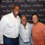 Magic Johnson, Jeffrey Osborne and Smokey Robinson arrive at the opening night welcome reception of the Jeffrey Osborne Celebrity Classic.